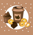coffee cup with biscuits and muffin blue vector image