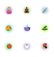 All saints day icons set pop-art style vector image vector image