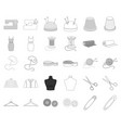 atelier and sewing monochromeoutline icons in set vector image vector image
