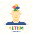 autism awareness day kid head puzzle card