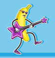 banana character plays guitar in shape of vector image