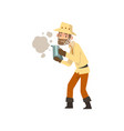 beekeeper man with smoker apiculture and vector image vector image