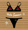 black bikini with flowers vector image vector image