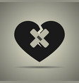 broken heart icon with two patches vector image vector image