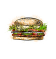 burger from a splash of watercolor vector image