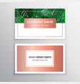 business cards gold and colorful design tropical vector image