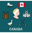 Canada travel flat icons and symbols vector image vector image