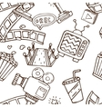 Cartoon doodles hand drawn cinema seamless vector image vector image