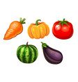 cartoon icons of vegetables vector image vector image