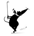 cartoon rat or mouse plays golf vector image vector image