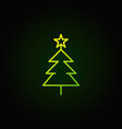 christmas tree green line icon on dark vector image vector image