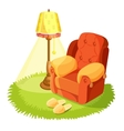 Cosy armchair with cushions yellow torchere vector image vector image