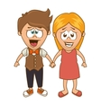 cute couple character sixty style vector image vector image