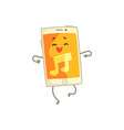 cute smartphone character with an orange screen vector image