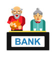 elderly making deposit in bank grandparents with vector image vector image