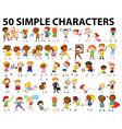 Fifty simple characters doing different activities vector image vector image