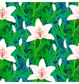 Floral pattern with tropical white lily flowers vector image