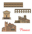 french travel landmarks with buildings and bridges vector image vector image