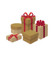 gift boxes of different shapes and colors set vector image vector image