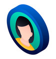 girl avatar icon isometric style vector image