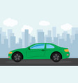 green sports car in the background of skyscrapers vector image