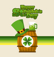 happy st patricks day barrel sticker clover hat vector image vector image