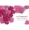 invitation card with rose flowers decor vector image vector image