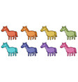 isolated set colorful horse vector image