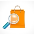 Isolated shopping bag with a magnifier vector image vector image