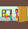 kids enter classroom background flat style vector image