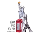 London red telephone box Statue of Liberty and vector image