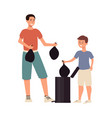 man ans son taking out garbage in plastic bags vector image vector image