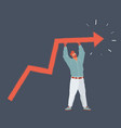 man standin with growing chart vector image
