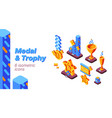 medal and trophy competition isometric icons set vector image vector image