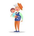 middle-aged man with grandson in hands vector image vector image