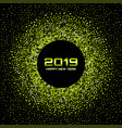 new year 2019 card background green confetti vector image