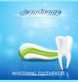 realistic image healthy tooth and toothpaste in 3d vector image