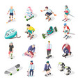 roller and skateboarders isometric icons vector image