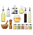 seasonings and dressings salt pepper glass bottles vector image