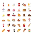 set colorful food and drinks icons flat style vector image vector image