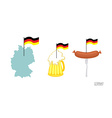 Set icons German symbol Map and German flag Beer vector image