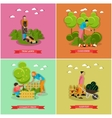 set of gardening agriculture flat design vector image vector image