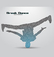 Silhouette of a break dancer from triangles