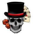 skull with top hat and casino game vector image vector image