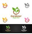 speed gardener care logo with green garden vector image vector image