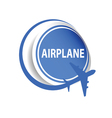 sticker airplane blue vector image vector image