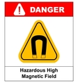 strong magnetic field warning sign vector image vector image