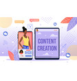 successful blogger career flat concept vector image vector image