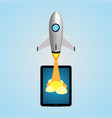 technology and business start up soar rocket vector image vector image