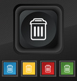 trash icon symbol Set of five colorful stylish vector image vector image